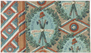"Wallpaper designed for the French Revolution, illustrated with oak leaf wreath enclosing crossed fasces, sword & Phrygian cap. Tricolor ribbons wrapped around fluted column bear legend: ""Soyons Unis/Nous Serons/Invincibles."""