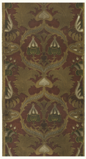 Vining floral design with large-scale flowers and flower buds. Printed in tan, green and white on deep red ground.