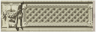 Realistically rendered architectural moldings and ornaments including an inset coffered panel and a floral swag suspended from volute. Printed in grisaille.