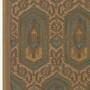 Embossed and varnished with geometric design.