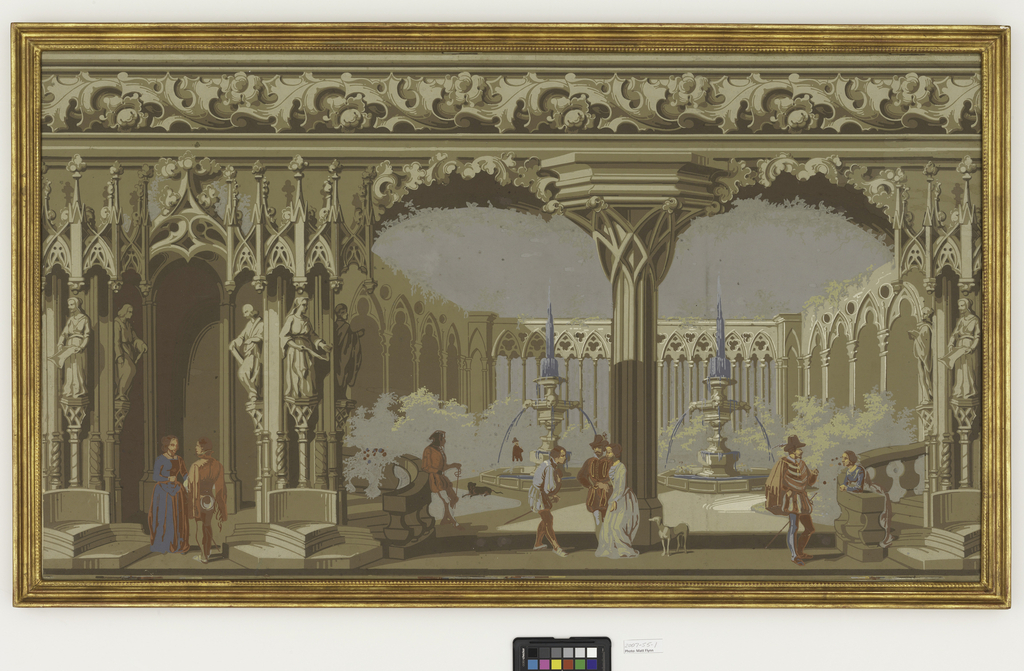 Large cloister or open courtyard. Courtyard contains two fountains and shrubbery.  Architecture is very gothic in style with cluster columns, trefoils, pointed arches and carved figures.  Figures in 16th century costume and dogs in the foreground. Acanthus band across top. Architectural elements are printed in grisaille while figures are printed in polychrome. Contains just over one repeat.