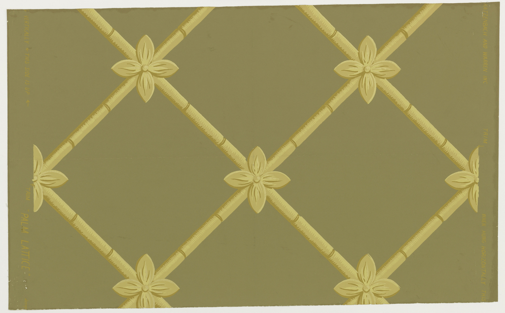 """One of the elements in the set """"Pavilion Palm"""". Diagonal widely spaced lattice. At the intersections of bamboo stalks are stylized palm leaves. Both of the motifs are brownish yellow with gold highlights. [Also known as""""Lattice Grille.]"""