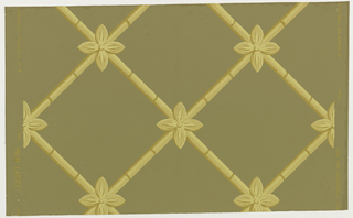 "One of the elements in the set ""Pavilion Palm"". Diagonal widely spaced lattice. At the intersections of bamboo stalks are stylized palm leaves. Both of the motifs are brownish yellow with gold highlights. [Also known as""Lattice Grille.]"