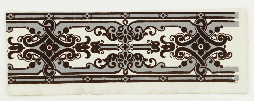 Maroon flock, gray scrollwork pattern on white ground