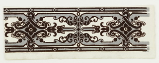 Maroon flock, gray scrollwork pattern on white ground