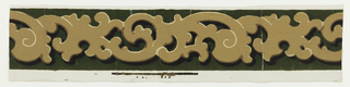 Tan scrollwork banding over green flock background.
