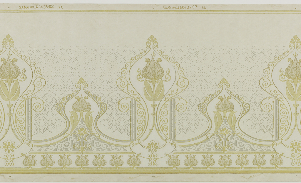 A repeating pattern of scrolled cartouches containing a tulip flower and stem connected to a smaller similar design on a dotted background of simple flowers and larger dots giving way at the top to flowers and larger dots. Bordered by horizontal bands at the top and at the bottom by repeating tulip flower and horizontal bands. Printed in white, gold, gray and pale gray.