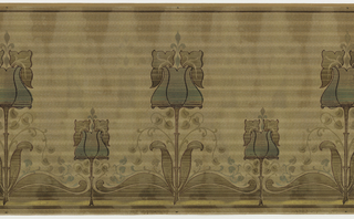 Irises with a fleur-de-lis protruding from the top. Every other one tall; in betwen ones are short. Leaves in between in ogee motif. Background looks woven with highlighted then darkened stripes. Printed in maroon, olive, tan, metallic green, and specks of white.