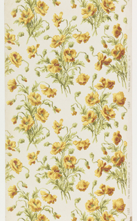 A vertically repeating design of bunches of poppy-like flowers on a plain ground. Printed in mustard, gold, red, black, brown, olive green and off-white.