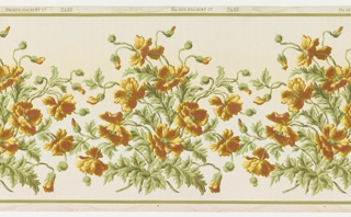 A repetitive design of wild roses bunched together with twisting vines. Top and bottom have same stripe border. Printed in greens, tan, yellow and deep pink on a cream-colored field.