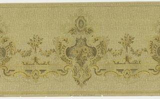 Flitter frieze containing floral bouquet set within medallion, alternating with smaller bouquet, connected by swags. Printed in brown and gold on background similating textile.