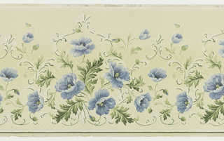 Blue poppies with green leaves and scrolls. Areas of lattice run along bottom. Printed in blue, green and mica on tan ground.