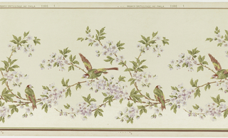 Birds perched on flowering tree branch. Area below branch is printed in mica.