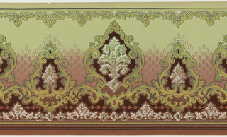 Scrolling medallions, alternating between large and small. Scroll and lattice along top edge. Background shades from green at top to pink at bottom.