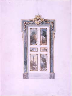 Drawing, The elevation of a door in Rococo style