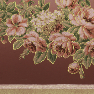 Flitter frieze with floral swag suspended by pink ribbon with bow, between architectural framework. Printed in burgundy, pink and tan. Motifs are outlined in gold mica flakes.