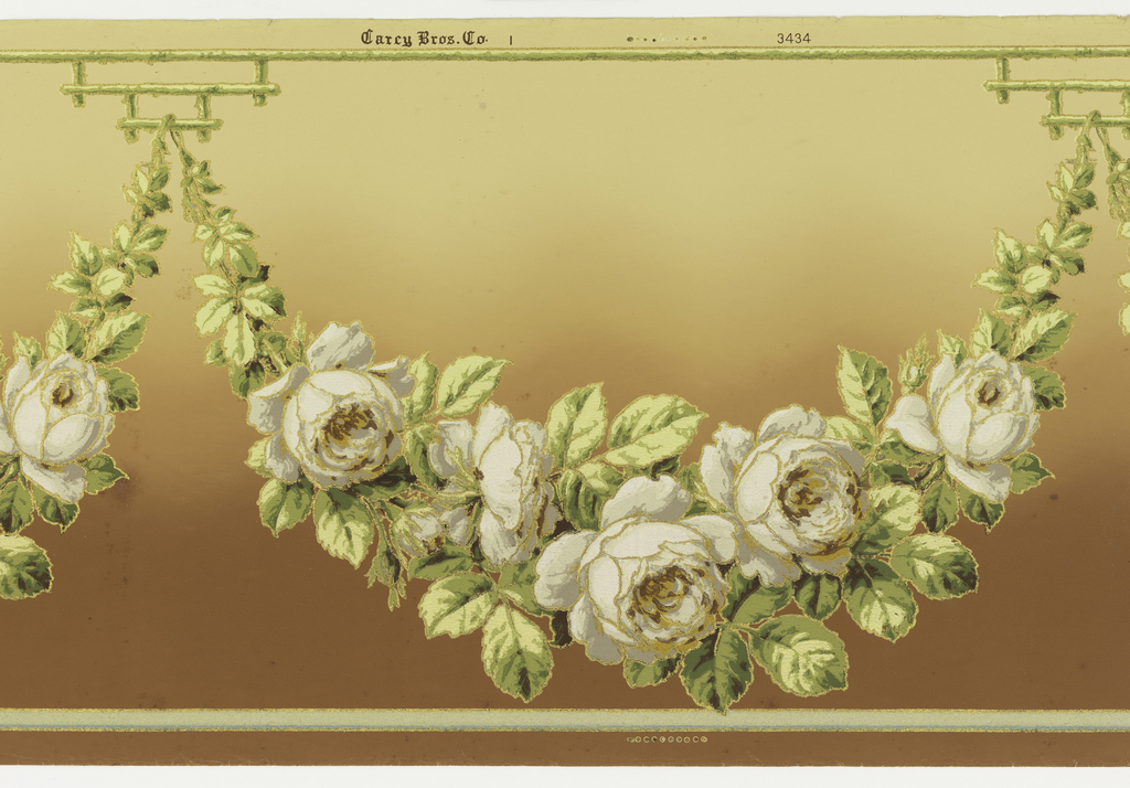 Flitter frieze with large rose swag suspended from small architectural bracket. Background shades from tan at top to brown at bottom. The swags are highlighted with fragments of mica glitter.