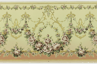 Flitter frieze with large and small floral swags suspended from gold acanthus scrolls, floral-wrapped rod near bottom edge with brown band below.