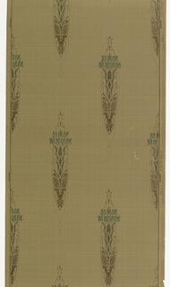 On lightly plaid ground in browns, staggered elongated chandelier-like motifs in light blue and green-brown.