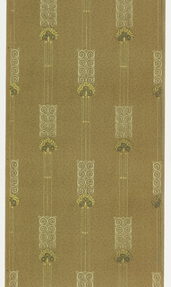 On brown ground, vertical stripes bearing rectangular motifs composed of white spirals, group of flowers against gold leaf background.