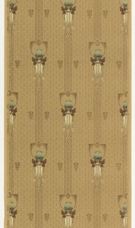 On light gray ground, vertical stripes with floral motifs in blue framed by circular border.