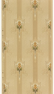 On light gray ground, allover honeycomb pattern made up of white beads; vertical bands composed of stripes with staggered medallions composed of peach colored flowers with leaves framed by geometric border in white and gold garland.