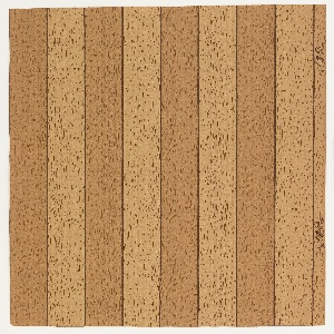 Faux bois or wood grain printed paper. The design alternates between equal width light and dark panels, containing four each across the width. Beige and brown vertical textured bands.