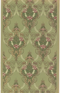 On green ground textured with white triangles, treillage of white rinceaux and burgundy scrolls, with medallions in dark green, beige, and pink floral clusters, at interstices.