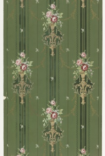 On green ground with vertical bands in dark green bordered by gold beaded frame, gold rinceaux; staggered motifs of white scrolled vases containing bouquet of pink and white flowers.