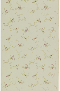 Seemingly random placement of floral springs with purple flowers. Printed on pale green ground.