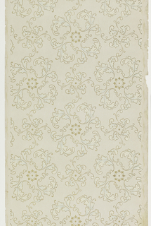 Rondelles of scrolling acanthus leaves, with center of six floral motifs. Printed in blue, white, and metallic gold on off-white ground.