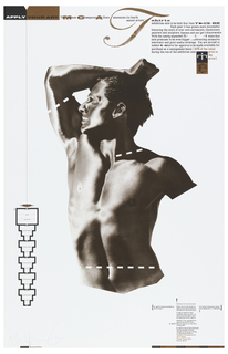 Vertical format poster with brown and black print on white ground. At center, a male torso in brown, shown in profile facing left, his lower body and left arm cut off from view, his right arm raised above his head. At his arm, neck, and stomach, dashed white lines cut across his body, indicating the points that are the normal boundaries for a t-shirt. Printed text at top and upper right describes the terms of the t-shirt design context hosted by the Museum of Contemporary Art in Chicago, IL.  A totemic infographic at lower left serves as the application form, and printed text at lower right describes application requirements. Printed text identifying designer and contributors at bottom left and right.