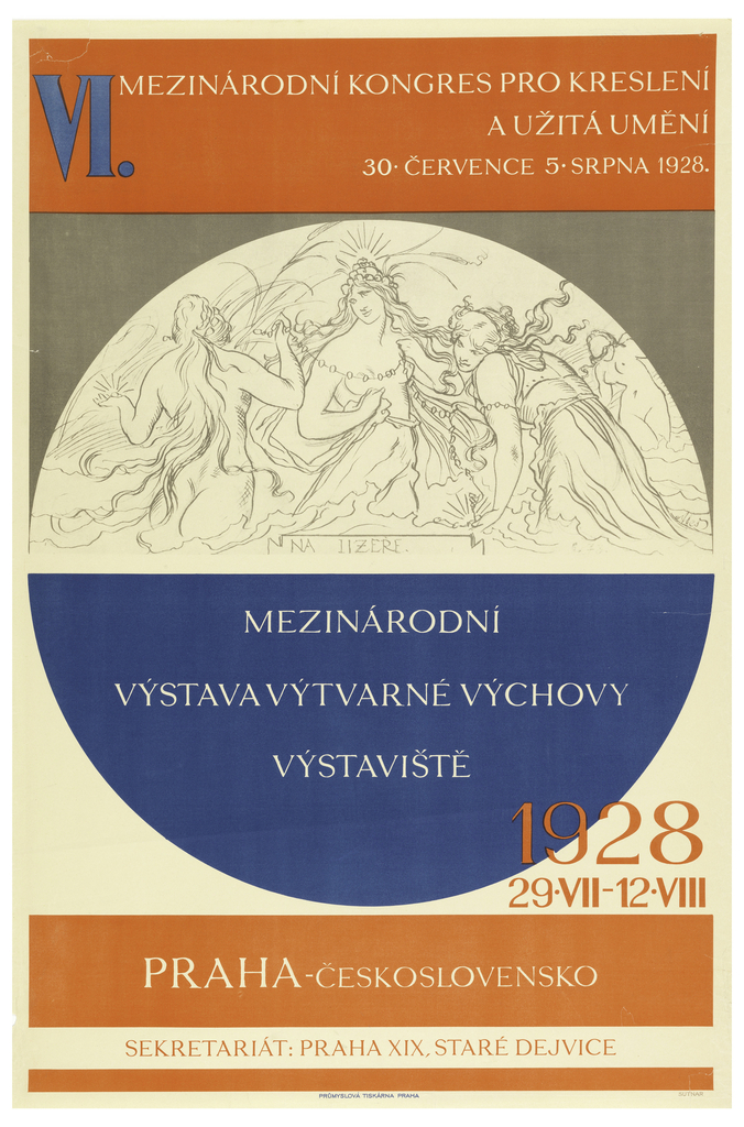 """Poster for the International Congress for Drawing and the Applied Arts. A large circle at the center of the poster is divided into upper and lower halves. The white upper contains an allegorical drawing of three women, and the blue lower contains white text reading """"Mezinarodni Vystava Vytvarne Vychovy"""" (International Exhibition of Art Education). The upper background of the poster is gray, and the lower background is white. Thick red borers line filled with text the top and bottom of the vertical page."""