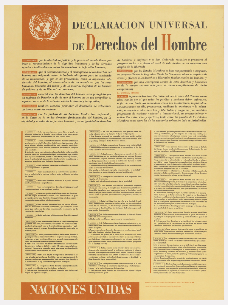 """The Universal Declaration of Human Rights, printed in Spanish. The United Nations seal appears in the upper right corner, in white, against an orange square. The title across the top reads """"Declaracion Universal / de Derechos del Hombre"""" in black serif type. The second register is larger than the first, and the initials """"D"""" and """"H"""" are printed in orange. Beneath the title, text is arranged in two short columns, and beneath these, in three taller, narrower columns, separated by thin, orange lines. Along the bottom of the page, white text in an orange rectangle reads """"Naciones Unidas."""""""