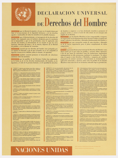 "The Universal Declaration of Human Rights, printed in Spanish. The United Nations seal appears in the upper right corner, in white, against an orange square. The title across the top reads ""Declaracion Universal / de Derechos del Hombre"" in black serif type. The second register is larger than the first, and the initials ""D"" and ""H"" are printed in orange. Beneath the title, text is arranged in two short columns, and beneath these, in three taller, narrower columns, separated by thin, orange lines. Along the bottom of the page, white text in an orange rectangle reads ""Naciones Unidas."""