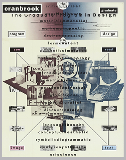 "At center a photomechanical reproduction of a photomontage of industrial design, printed in blue-green at right, and graphic design printed in brown at left. The poster design is bilaterially arranged throughout. At the four corners of the design are text boxes reading ""see"", ""read"", ""text"", ""image"". These words and the boxes that contain them are printed in alternating black, pink and blue and are connected across the image by thin black lines. Top section of sheet is divided in brown at left and blue-green at right with text block reading ""cranbrook"" at upper left corner and ""graduate"" at upper right.  The sheet is dominated top to bottom by text in different fonts arranged on a center justification."