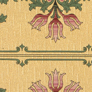 """Borders printed two across (mirror). Three stylized tulips alternating with a single, larger tulip. Flowers are shaded by stripes of differing shades of pink. Top is decorated with green stripe and elongated foliate scrolls. Bottom has bands of dark and light green. Pink stripe pattern mimicking tulip coloring that fills the negative space between the green border and the leafy foliage. Beige ground with very subtle light beige vertival discontinuous lines. On top of this is an overall layer of small black vermiculation. Art Nouveau/Mission Style.  Printed in selvedge: """"Y. W. P. Co"""""""