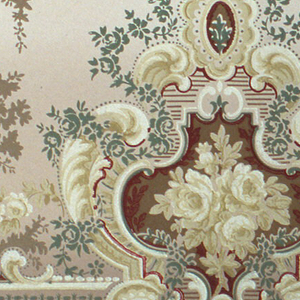 Rose bouquets set within medallions, alternating with more rose bouquets. A wavy band runs along the bottom edge. Pendents and scrolls suspended from top edge. Printed in burgundy, yellow, white, green and brown on background that shades from tan to brown