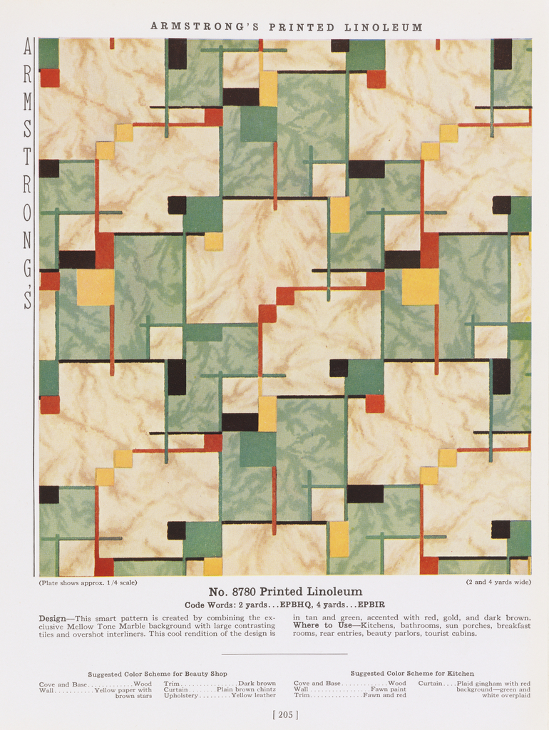 Trade Catalog, The Armstrong Pattern Book, Linoleum Pattern No. 8780