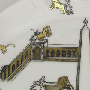 Plate showing a square field enclosed by arcades topped with obelisks. Animals and chariots move throughout.