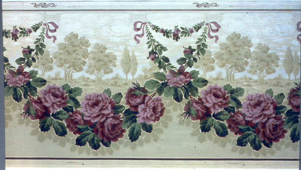 Landscape frieze, with large-scale floral swag containing purple flowers in foreground, and much smaller scale trees and horizon in the background.