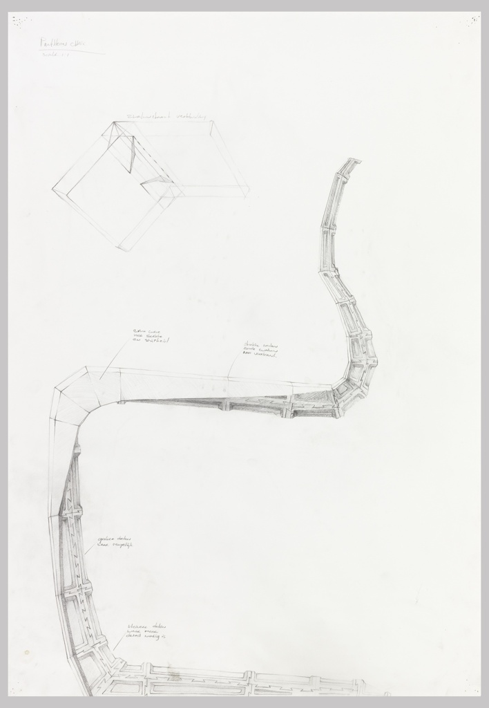 Scale drawing of a chair to be produced by CNC-mill work, shown in profile, facing left. The chair is designed as a single, curving line, without conventional legs. It is to be made of interlocking wood blocks which resemble vertebrae. A detail of these blocks is enlarged in a light sketch in the top left corner. The design includes Laarman's annotations, as well as many graphite smudges.