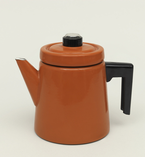 A round teapot slightly tapering in red with a matching red cover. Teapot has triangle shaped spout and a black handle.
