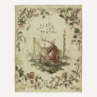 White ribbed silk painted in watercolors and metallic pigment.  A Chinoiserie design showing a Chinese astronomer in a garden looking through a telescope; surrounded by a framework of flowering branches, one with a bird.