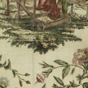 White ribbed silk painted in watercolors and metallic pigment.  A Chinoiserie design showing a Chinese astronomer in a garden looking through a telescope; surrounded by a framwork of flowering branches, one with a bird.