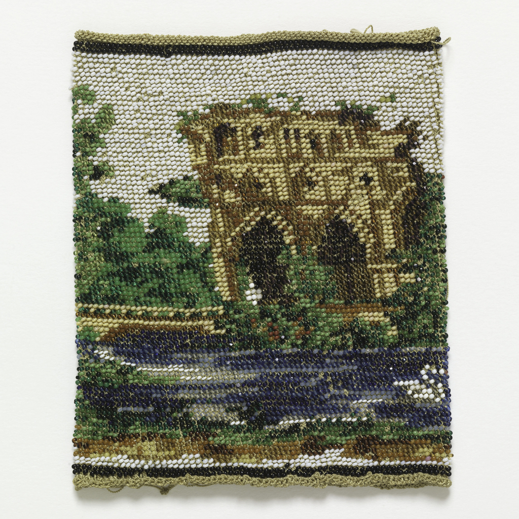 Unmounted beaded purse made by knitting glass beads on silk. Pattern shows a villa surrounded by trees on the edge of a lake with a swan.