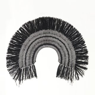 Shawl-type collar of alternating rows of braid and knotted thread; edged at bottom with black silk fringe.