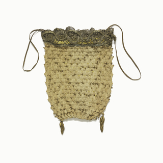 Ladies bag, knitted in linen with copper beads; silk and metal thread lace at upper edge; lined with yellow silk, drawstring of metal braid; two brass leaf ornaments at bottom.