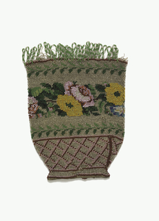 Knitted bag with colored glass beads in design of a band of roses set between leaf borders; at bottom a lattice design; fringed at top.