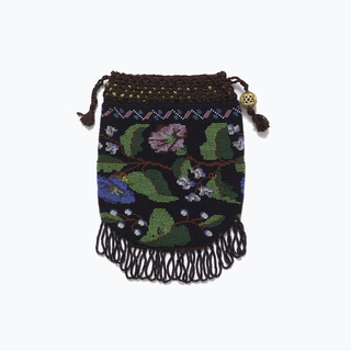 Knitted bag with colored glass beads in design of flowers and leaves with zigzag border on a dark purple ground. Finished at bottom with bead fringe and at top with a crocheted silk cord and carved bone bead; lined with chartreuse silk.